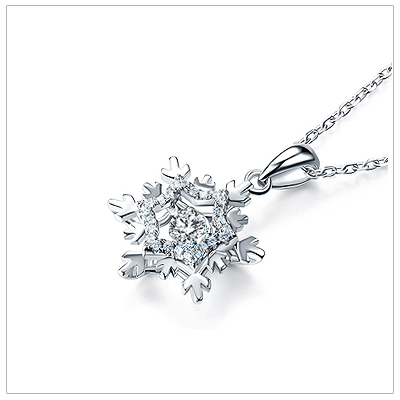 Sterling silver snowflake necklace for girls with moving cz stone.