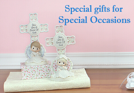 Boy and girl porcelain figurines with Cross perfect for baptism gifts or baby dedication gifts.