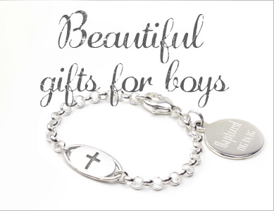 Boys sterling silver baptism bracelet. The baptism gift includes a sterling silver disc charm with personalization.
