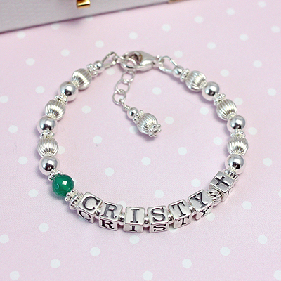 Sterling silver personalized bracelets for girls with genuine birthstone. Perfect Baptism gifts.