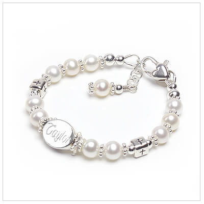 Engraved baby baptism bracelet with cultured pearls and sterling Cross beads.
