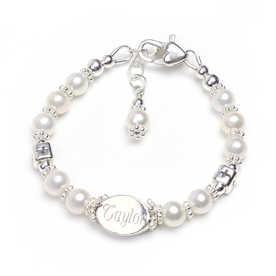 Engraved bracelet for babies and children with sterling Cross beads.