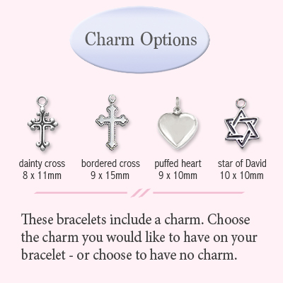 Charm options for baby baptism bracelet.