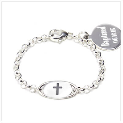 Baby boy's sterling silver Cross bracelet for baptism or baby dedication. Add engraved disc to personalize.