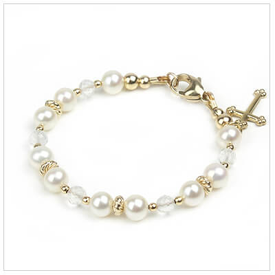 14kt gold baby Christening and Baptism bracelet with white cultured pearls and genuine sparkling white topaz.