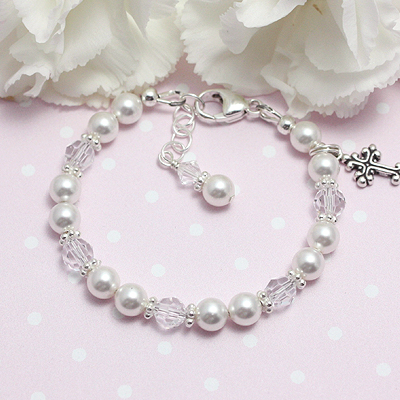 Baptism Pearl Bracelet with white pearls and clear crystal for babies and children