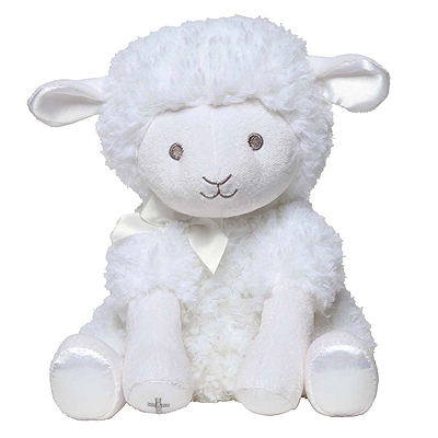 Soft plush lamb Baptism gift for baby girls or baby boys. The lamb has an embroidered face and silver Cross; winds up to play 'Jesus Loves Me'.