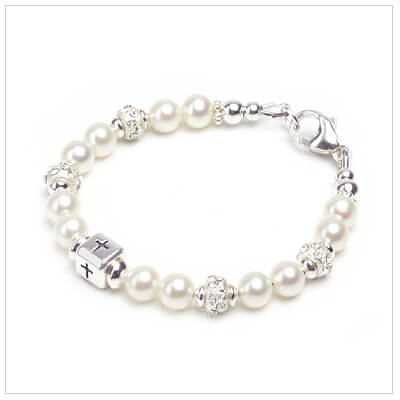Baby and childrens bracelet with cultured pearls, sterling Cross bead, and crystal-set sterling beads.