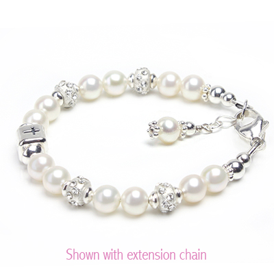 Baby pearl bracelets for Baptism and Christening gifts with sterling silver Cross bead.