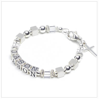 Boys personalized Christening or baptism bracelet in sterling silver and clear crystal. Cross charm is included.