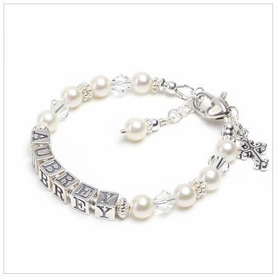 Pearl Baptism and Christening bracelet with faceted gemstones and cross charm included. Baptism gift for baby girls.