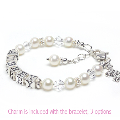 Christening and Baptism bracelet for children in white cultured pearls and clear crystal; Cross charm included.