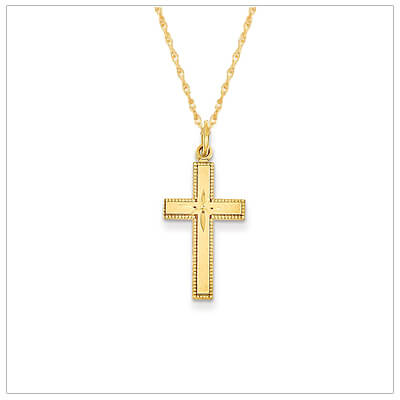 14kt gold Cross necklace with a satin finish and diamond-cut center that sparkles. 14kt gold chain included with the Cross necklace.