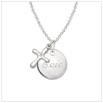 Personalized necklace for girls in sterling silver with diamond Cross charm. Engrave front and back of the sterling disc. Sterling silver chain also included.