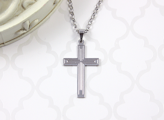 White gold Cross necklace for boys with simple design and chain included.