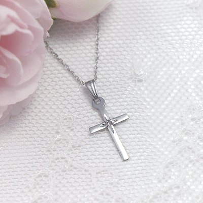 White gold diamond cross necklace for girls with 15 chain included our cross necklace dainty diamond cross necklace for girls in 14kt white gold the necklace comes with a mozeypictures Gallery