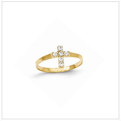 14kt gold Cross ring for girls set with 6 sparkling cz. A perfect size Cross ring for children.