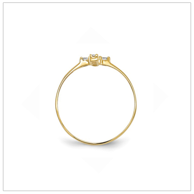 Side view of child's 14kt gold Cross ring with cz.