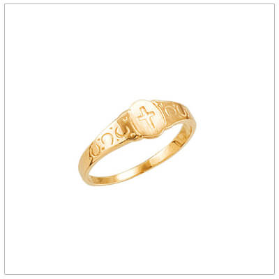 Cross ring for children in 14kt yellow gold. The childrens Cross ring has a signet style and decorative band.