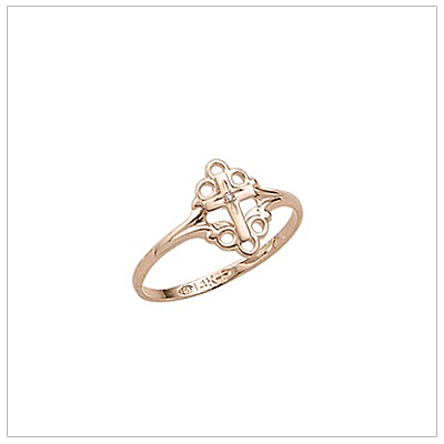 Girls diamond Cross ring with a polished band and decorative scroll.