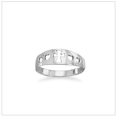 Silver Cross ring for girls with hearts and Cross cut out design.