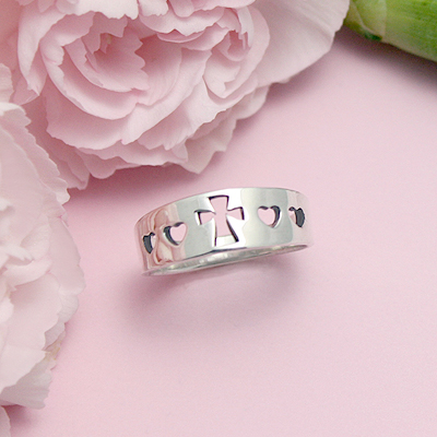 Sterling silver Cross ring for older girls with hearts and Cross cut out design.