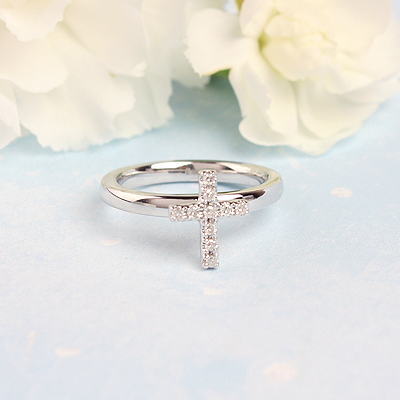 Diamond Cross ring for girls in sterling silver.