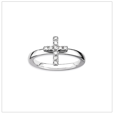 Diamond Cross ring in sterling silver with polished band.