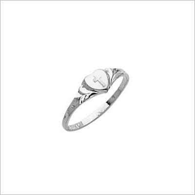 Sterling Heart Cross Ring - 1402