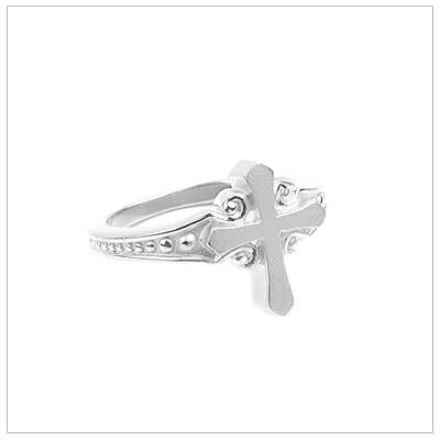 Sterling silver Cross ring for girls with a scroll design and beaded band. Beautiful silver Cross ring for teens and adults.