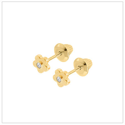 Diamond flower baby earrings in 14kt gold with safety screw backs.