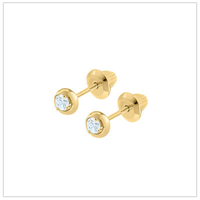 Beautiful 14kt gold diamond earrings for babies and children with screw backs.