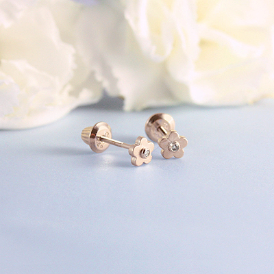 14kt Gold Diamond Flower Earrings
