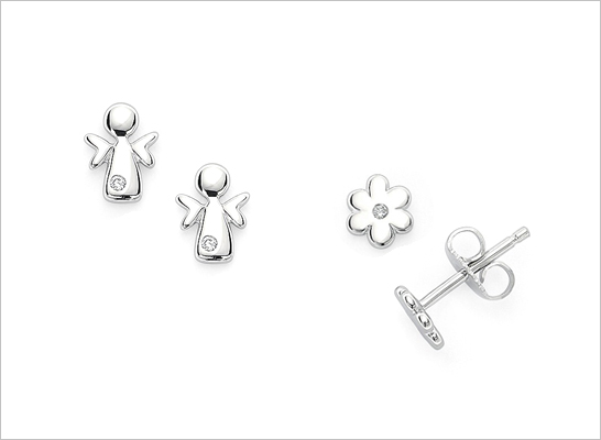 Sterling silver diamond angel earrings and diamond flower earrings for children.