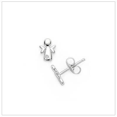 Diamond angel earrings in sterling silver with push on backs.