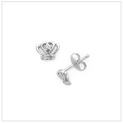 Sterling silver diamond crown earrings for children. Our crown earrings have push on backs.