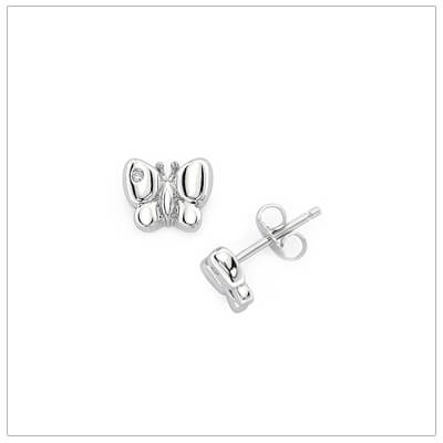 Diamond butterfly earrings for babies and children in sterling silver. Our butterfly earrings have push on backs.