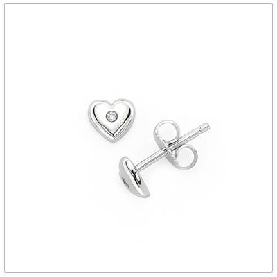 Sterling silver diamond heart earrings for babies and children. The diamond heart earrings have push on backs.
