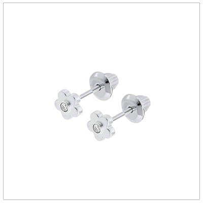 White gold flower earrings set with genuine diamonds for babies and toddlers. White gold screw back earrings.