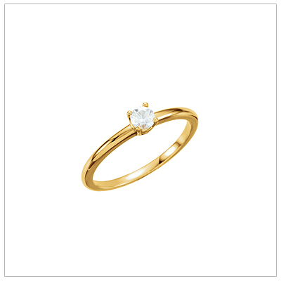 Children's 14kt gold diamond solitaire ring in a size 3.