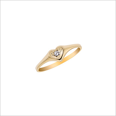 14kt gold heart ring for children with genuine diamond.