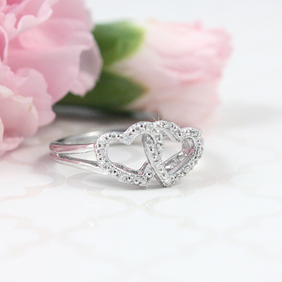 Double Diamond Heart Ring - 1493