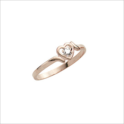 Girls 14kt Gold Diamond Heart Rings with an open heart set with