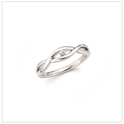 Sterling silver diamond ring for girls with a crossover design and small diamond.