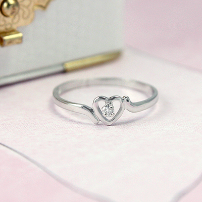 Girls White Gold Diamond Heart Rings
