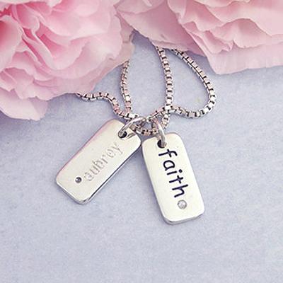 Silver Diamond Faith Bracelet Charms