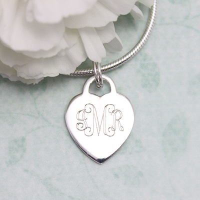 Engravable Heart Bracelet Charms - 1193