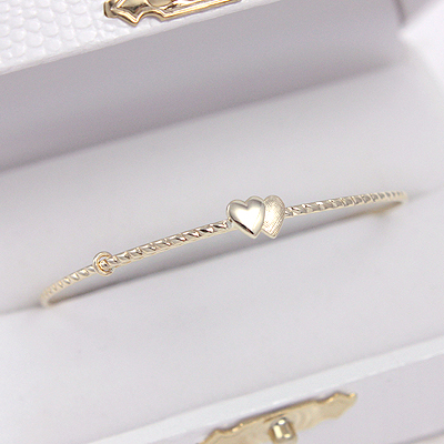 14kt Double Heart Bangle Bracelets with a twisted band and two small hearts