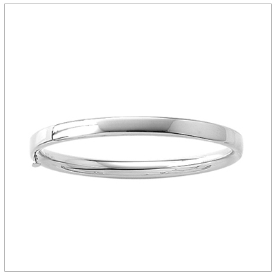 Polished 14kt white gold bangle bracelet for girls. Safety clasp. Baby size 4.5 in. bangle bracelets.