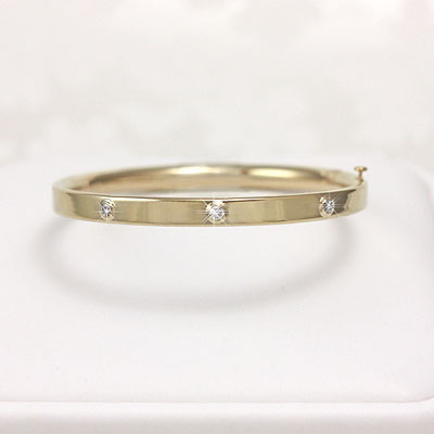 3 Diamond Gold Bangle Bracelet 5.25 inches - 1297-5